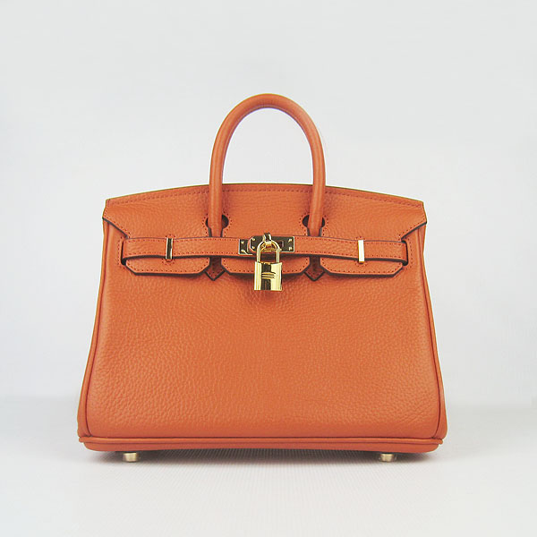 Hot-Exquisite-Hermes-Birkin-25CM-Tote-Bag-6068-Orange-Golden-Hardware-24125631